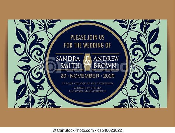 青, 結婚式, 海軍, 招待, 花, カード - csp40623022