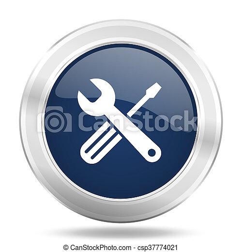 青, 網, モビール, app, イラスト, 金属, 暗い, インターネットアイコン, ボタン, 道具, ラウンド - csp37774021