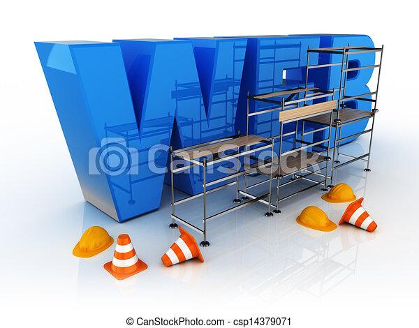 青, 網, 建造しなさい, アイコン - csp14379071