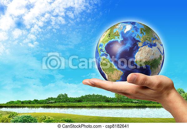 青, 美しい, 空, 地球, それ, 手, バックグラウンド。, 緑地球, 川の景色, 人 - csp8182641