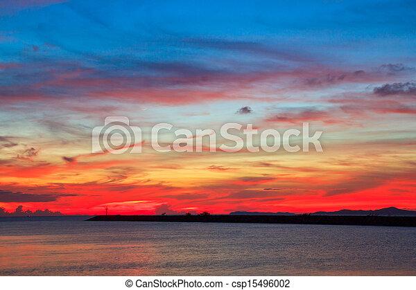 青, 背景, 雲, 日没の 空 - csp15496002