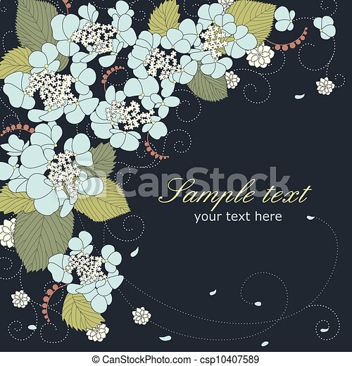 青, 花, アジサイ, ベクトル, 背景 - csp10407589