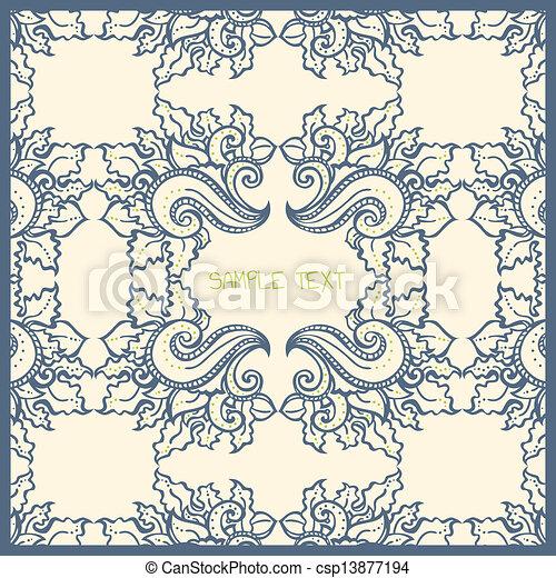 青, 花, カード, テンプレート, クリーム - csp13877194