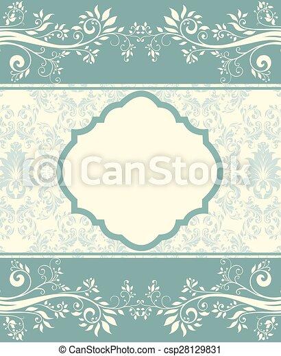 青, 花, カード, 招待 - csp28129831