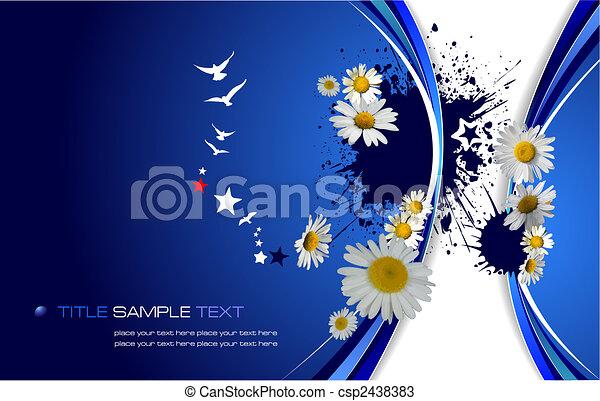 青, 花, ベクトル, イラスト, バックグラウンド。 - csp2438383
