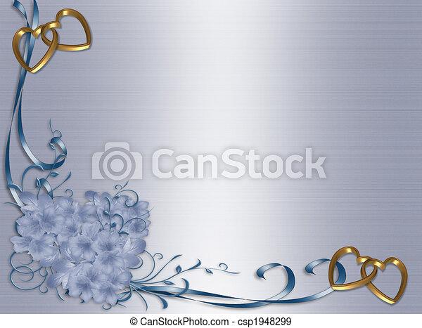 青, 花, 結婚式, サテン, 招待 - csp1948299