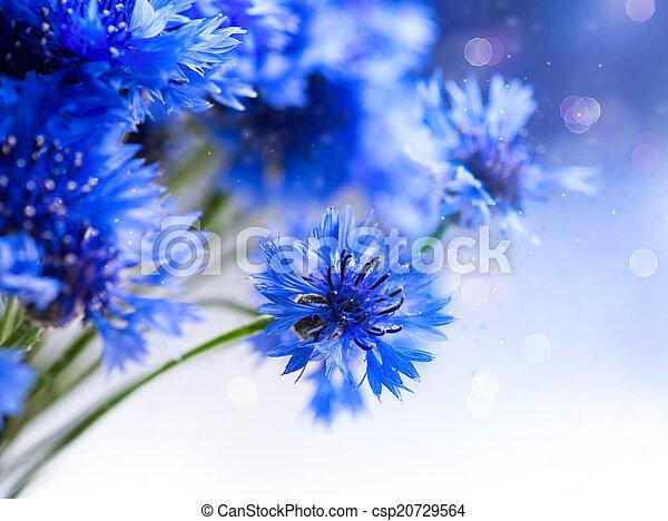 青, 芸術, cornflowers., 野生, デザイン, blooming., 花, ボーダー - csp20729564