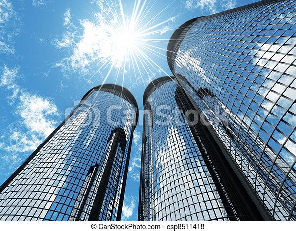 青, 超高層ビル, ライト, 現代, 空, 背景, 高く, 太陽, パッチ - csp8511418