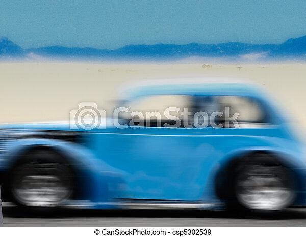 青, 運転, 自動車, 速い, 砂漠, 道 - csp5302539