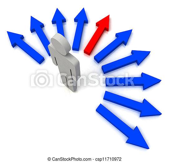 青, 選ばれる, 矢, 1人の人, ショー - csp11710972