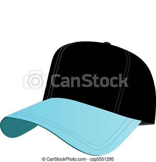 青 野球帽 黒 青 イラスト 帽子 隔離された ベクトル 黒 White