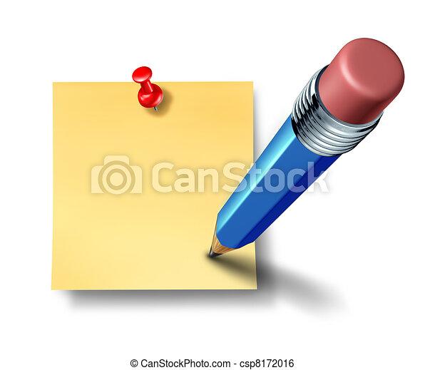 青, 鉛筆, オフィス, 執筆, メモ, ブランク - csp8172016