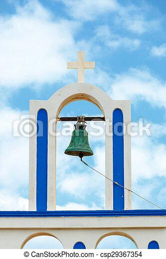 青, 鐘, 空, に対して, ギリシャ教会 - csp29367354