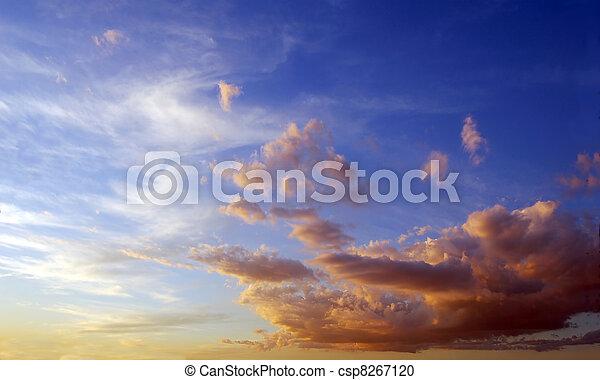青, 雲, ふんわりしている, 空, 時間, 染められる, orange., 日没, 接近 - csp8267120