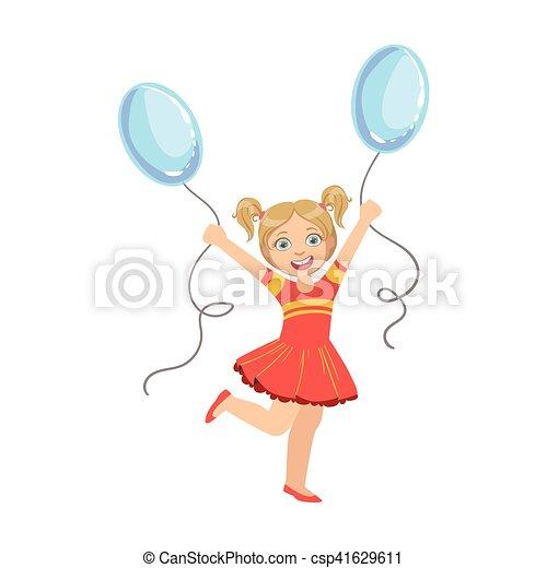 青, 風船, 2, ポニーテール, 女の子, 服, 赤