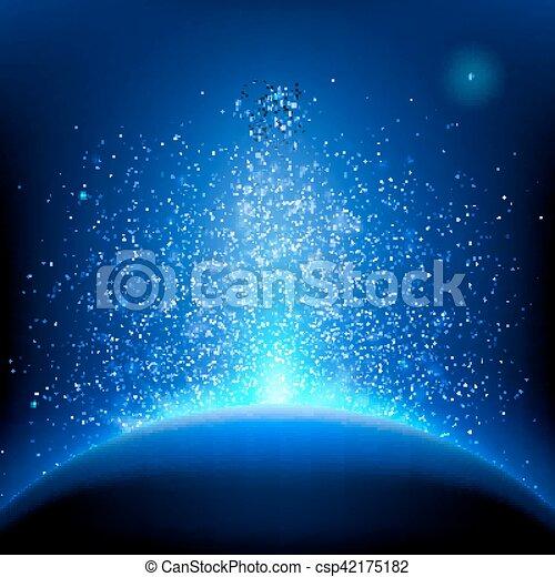 青, 10, -, eps, space., 海原, 地球, 日の出 - csp42175182