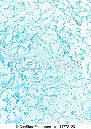 青, background:, sky-like, 抽象的, パターン, textured, 花, 白, 背景 - csp11772123