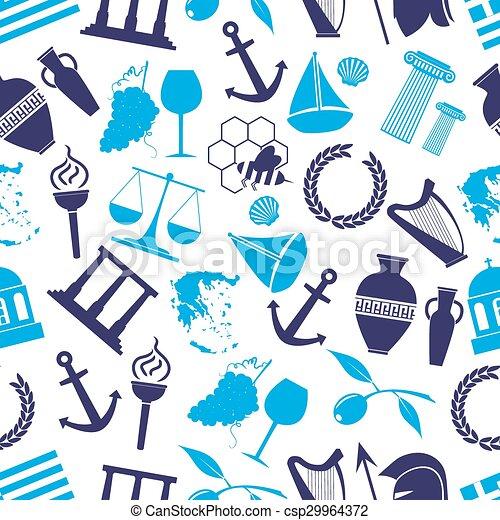青, eps10, 国, seamless, シンボル, 主題, ギリシャ, パターン - csp29964372