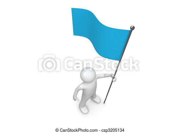 青, flagpole, 旗, 手掛かり, 人 - csp3205134