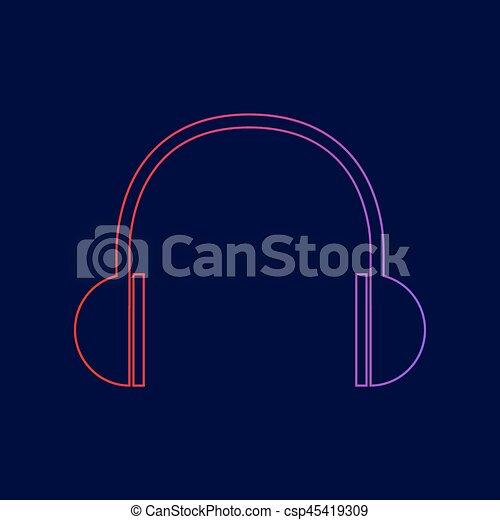 青, illustration., 勾配, ヘッドホン, 印, 暗い, バックグラウンド。, 色, vector., すみれ, 線, 赤, アイコン - csp45419309