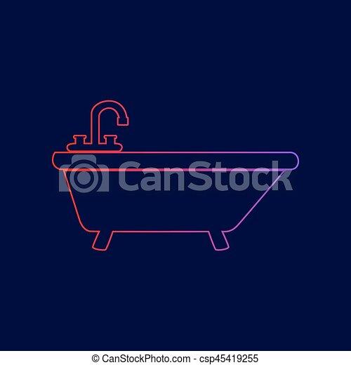 青, illustration., 勾配, 印, 暗い, バックグラウンド。, 色, vector., すみれ, 線, 浴槽, 赤, アイコン - csp45419255