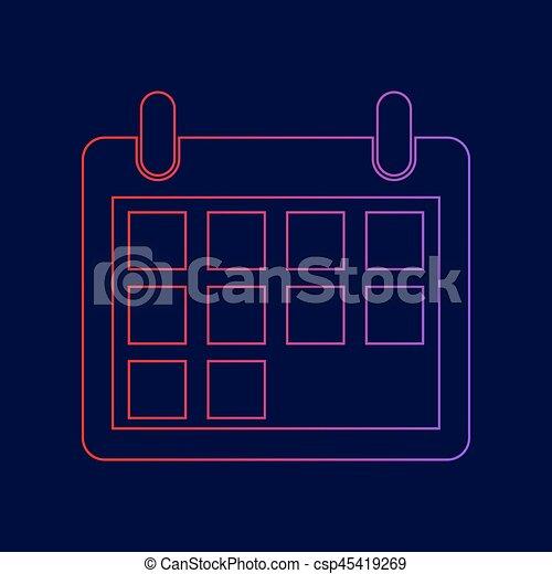 青, illustration., 勾配, 印, 暗い, バックグラウンド。, 色, vector., すみれ, カレンダー, 線, 赤, アイコン - csp45419269
