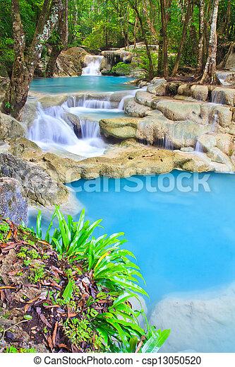 青, kanjanaburi, 滝, 流れ, タイ, 森林 - csp13050520