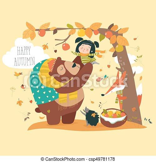 面白い かわいい 熊 りんご 女の子 収穫する 面白い かわいい