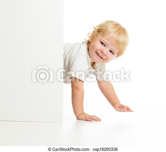 面白い, すべて, 壁, fours, の後ろ, 子供 - csp16293336