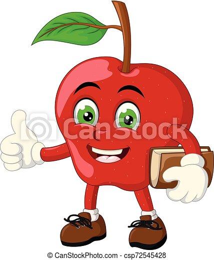 面白い, アップル, 赤, 漫画 - csp72545428