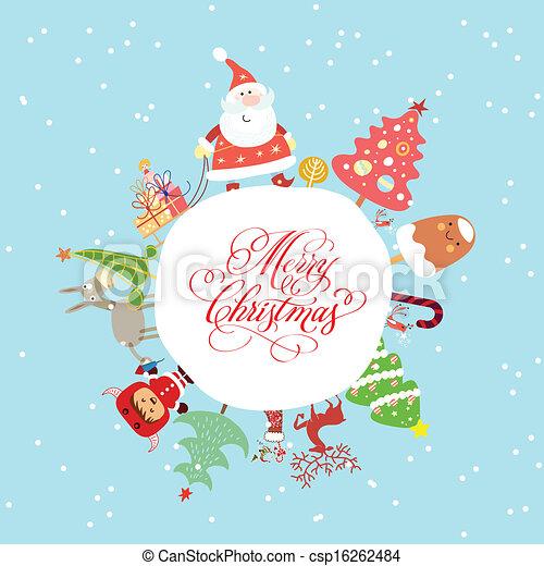 面白い, クリスマスカード, かわいい - csp16262484