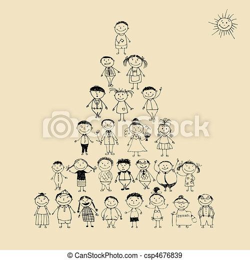 面白い, スケッチ, ピラミッド, 家族, 大きい, 一緒に, 微笑, 図画, 幸せ - csp4676839