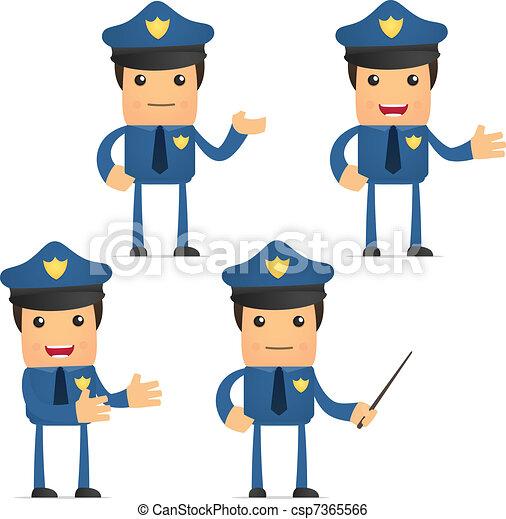 面白い, セット, 漫画, 警官 - csp7365566