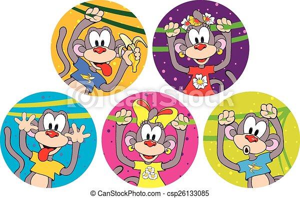 面白い, セット, monkeys., シンボル, 2016., 年 - csp26133085