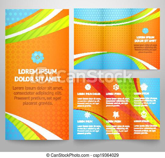 面白い, ベクトル, レイアウト, ビジネス, カラフルである, tri-fold, カバー, 3, イラスト, ∥あるいは∥, print., 折り目, 明るい, フライヤ, パンフレット, 専門家, テンプレート, 企業のデザイン, waves., design. - csp19364029