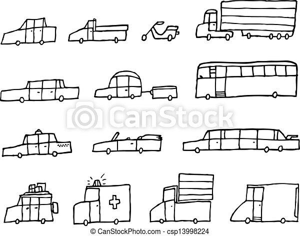 面白い, 交通機関, 自動車, 車, /, 漫画 - csp13998224