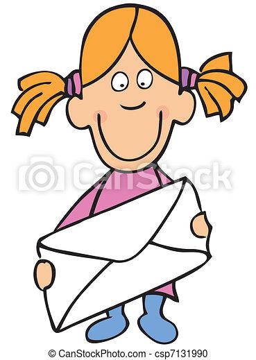 面白い, 女の子, 封筒 - csp7131990