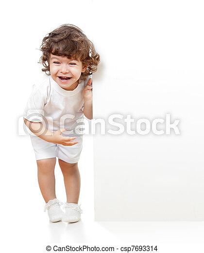面白い, 巻き毛, 広告, 保有物, ブランク, 女の子, 旗 - csp7693314