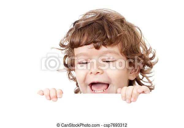 面白い, 巻き毛, 空白の 表面, 広告, 子を抱く, 旗 - csp7693312