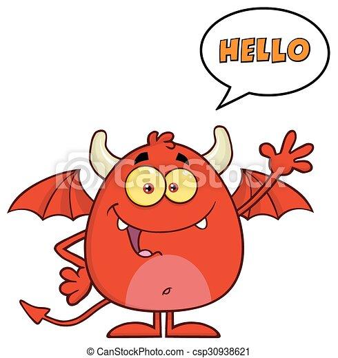 面白い, 悪魔, 特徴, 赤 - csp30938621