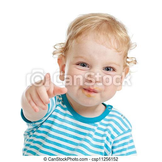 面白い, 指すこと, 巻き毛, 唇, カメラ, 汚い, 直接, 子供, 指 - csp11256152
