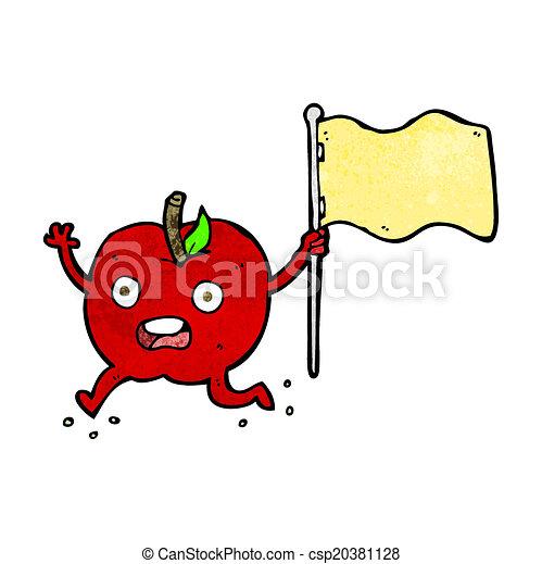 面白い, 旗, 漫画, アップル - csp20381128