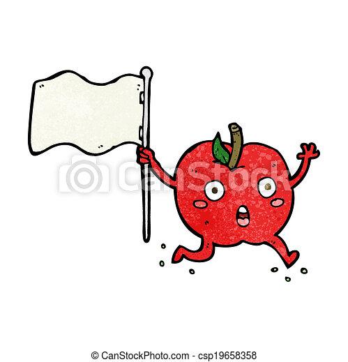 面白い, 旗, 漫画, アップル - csp19658358