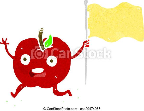 面白い, 旗, 漫画, アップル - csp20474968
