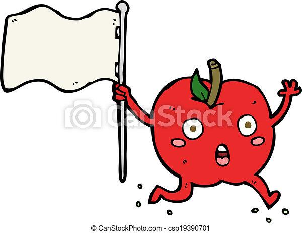 面白い, 旗, 漫画, アップル - csp19390701