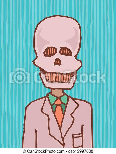 面白い, 死, /, 頭骨, ビジネスマン - csp13997888
