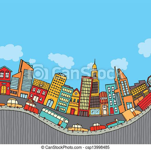 面白い, 漫画, コピースペース, 都市 - csp13998485