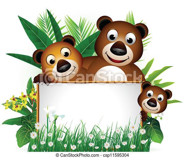 面白い, 熊, 家族, ブラウン - csp11595304