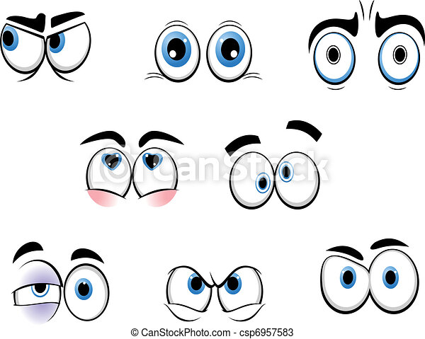 面白い, 目, 漫画 - csp6957583