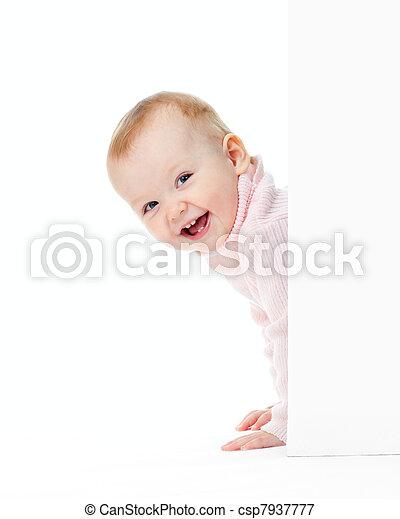 面白い, 見なさい, 壁, 微笑の女の子, から - csp7937777